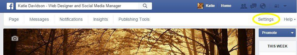 Click-on-Settings Facebook Admin