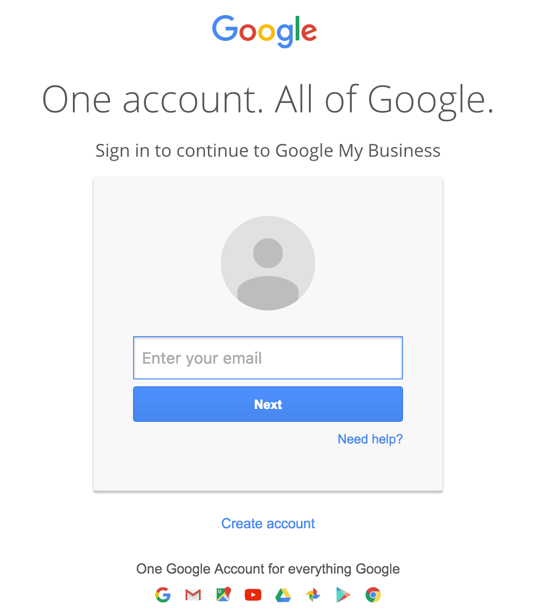 Create a Google Account if you don't have one
