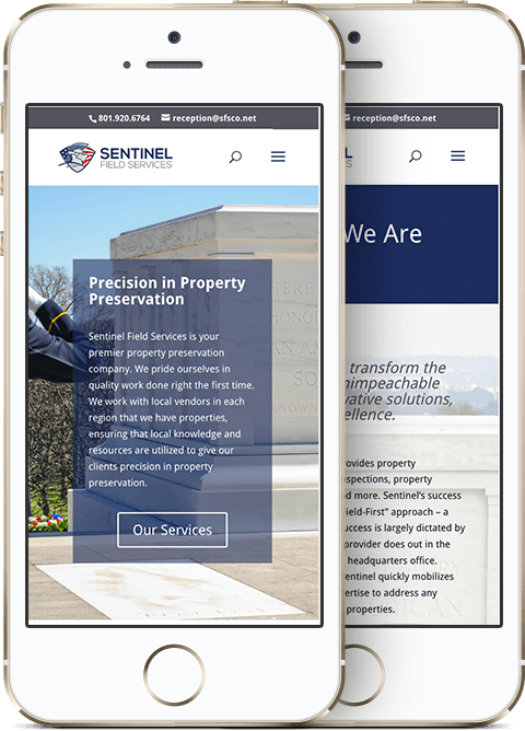 Sentinel Field Services Mobile Website Mockup