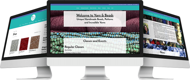 Yarn and Beads Website Design Mockup