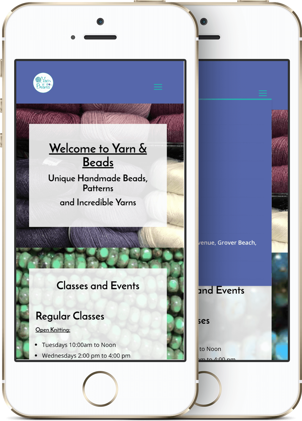 Yarn and beads mobile website design
