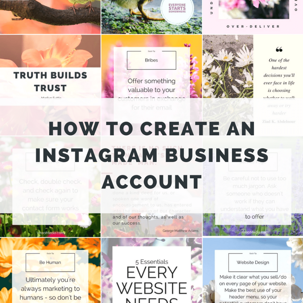 Graphic with words How to Create an Instagram Business Account