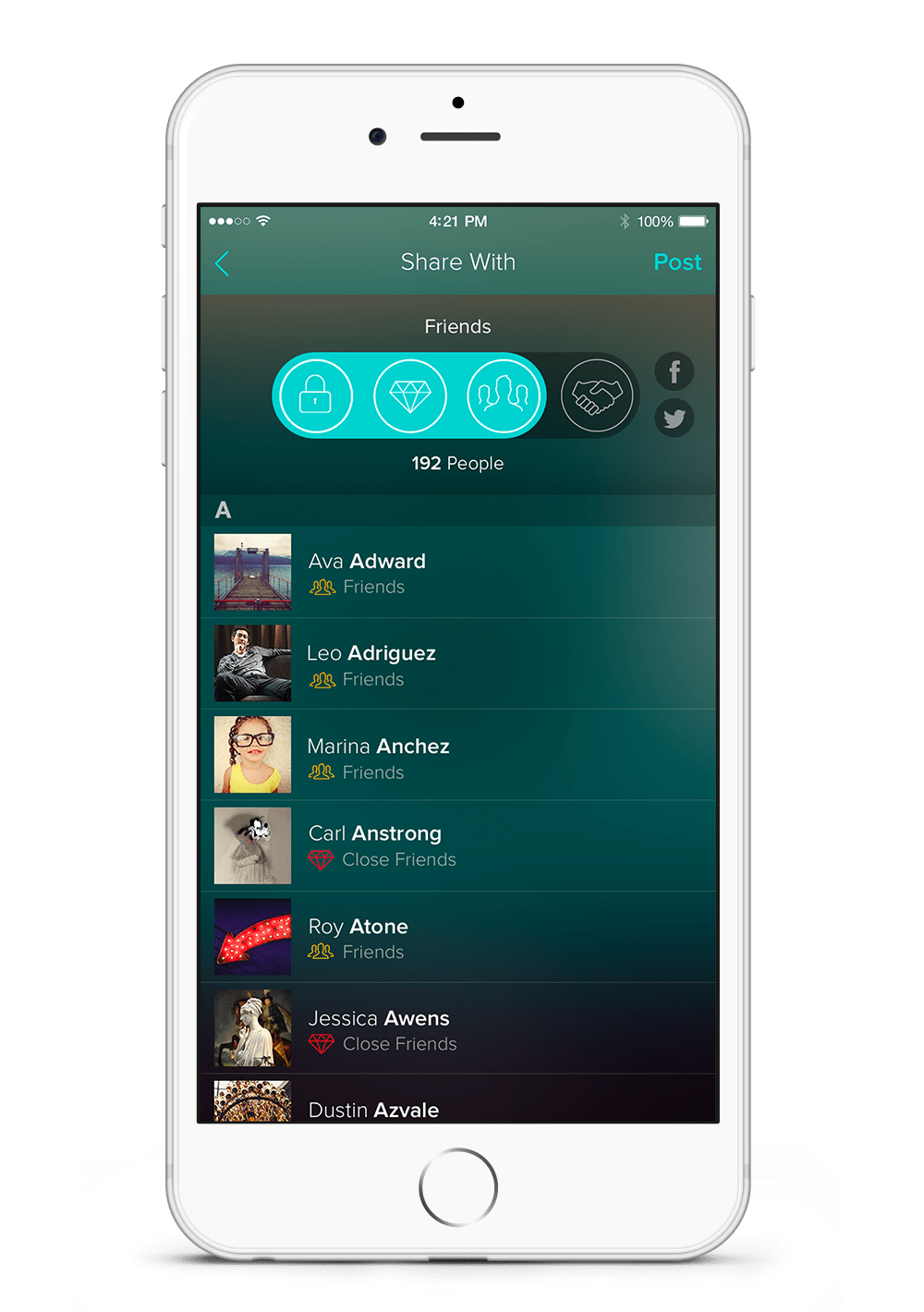 Screenshot of the different audiences on Vero