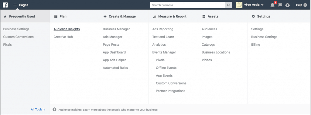 Navigate to the Facebook Audience Insights