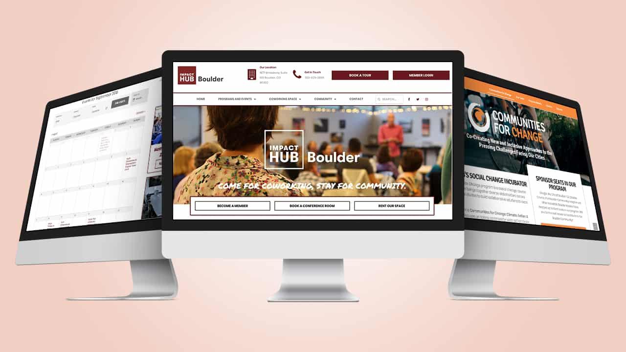 Impact Hub Boulder Website Displayed on Desktop