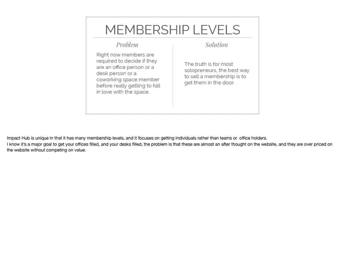 Impact Hub is unique in that it has many membership levels, and it focuses on getting individuals rather than teams or office holders. I know it's a major goal to get your offices filled, and your desks filled, the problem is that these are almost an after thought on the website, and they are over priced on the website without competing on value
