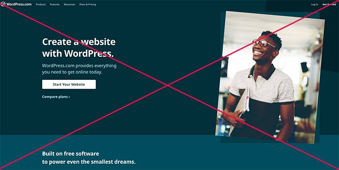 screenshot of wordpress.com site crossed out.