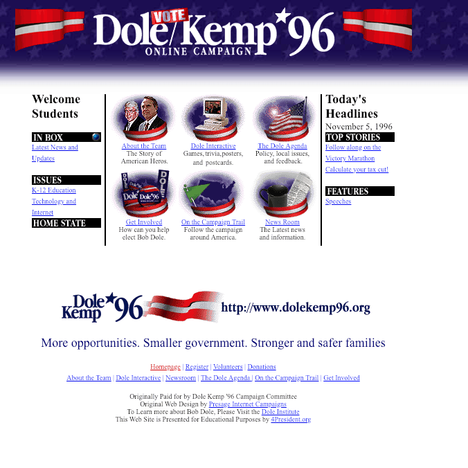 Dole Kemp '96 website