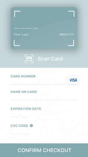 Mobile checkout with scan card option