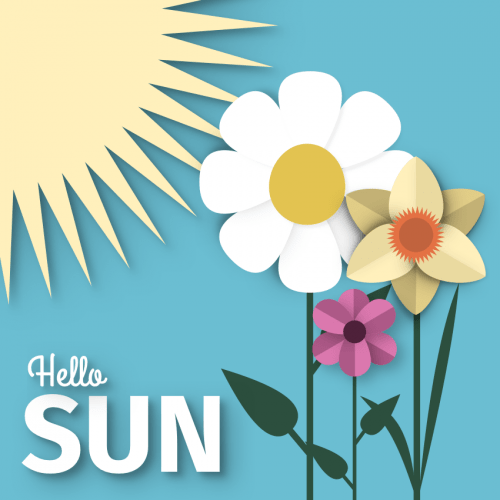 Cute Paper Art Style sun and flowers