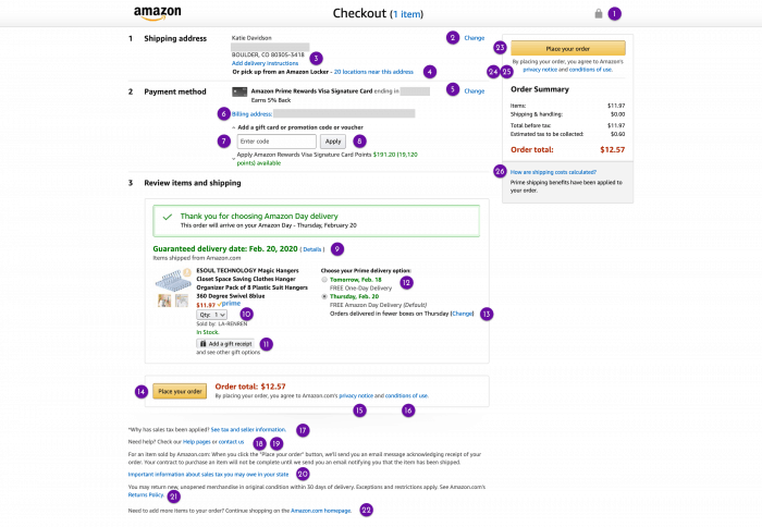 Amazon purchase confirmation page showing how confusing it is for assistive technology users