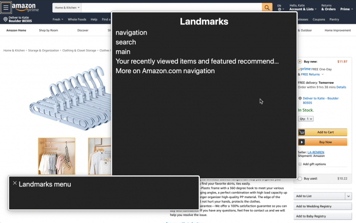 Landmarks on amazon via VoiceOver Rotor