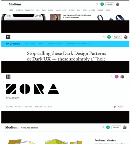 4 different menu styles found on Medium