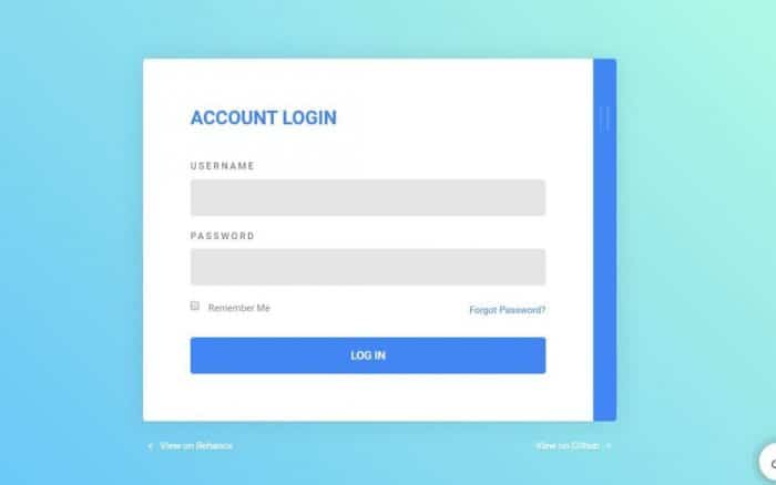 Visually appealing login screen with username, password, forgot password, and sign up button